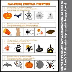 Social Media Share of the Week: Halloween Temporal Directions Activity- Pinned by @PediaStaff – Please Visit ht.ly/63sNtfor all our pediatric therapy pins