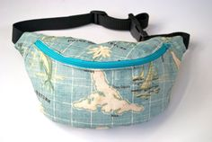 bumbag fannypack map. Turquoise ykk zipper. by beksiesboutique, £18.99