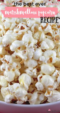 Sweet and Salty Marshmallow Popcorn - a fun and unique dessert that is sweet, crunchy and delicious!  This fun popcorn treat is so easy to make and would be a great a dessert for a party, a family movie night or just a random Tuesday! Pin this yummy Popcorn snack for later and follow us for more great Popcorn Recipe Ideas.  #sweetandsalty #popcorn #popcornrecipes #snacks #treats #desserts Popcorn Snacks, Popcorn Recipes, Snack Recipes, Cooking Recipes, Marshmallow Desserts, Marshmallow Popcorn, Sweet Recipes, Cake Recipes, Gluten Free Marshmallows