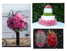 Dragon fruit inspired. Love the bouquet and the cake decor!