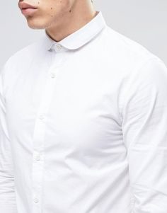 Image 3 of Produkt Shirt with Curve Collar in Slim Fit