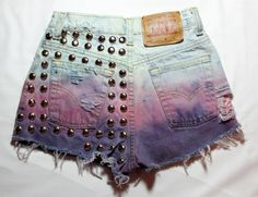 dome studded destroyed vintage levi ombre high waisted shorts