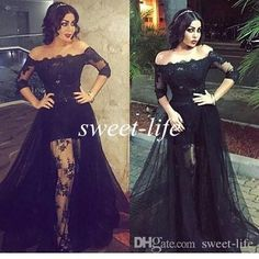 Black Lace Prom Dresses Off the Shoulder High Low See Through with Sleeves Over Skirt Tulle 2016 Sexy Evening Gowns Party Celebrity Dresses Online with $118.6/Piece on Sweet-life's Store | DHgate.com