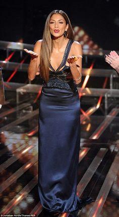 Nicole Scherzinger wearing Gianmarco Lorenzi Pearl Court Pumps Dinny Hall Gold Vermeil Almaz Large Hoops Zepnep Tosun Spring 2014 Dress