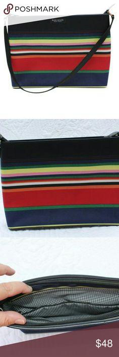 Kate Spade Handbag Lovely striped Kate Spade handbag.  Zippered enclosure.  Gingham interior with zippered pocket.  Smoke free home kate spade Bags