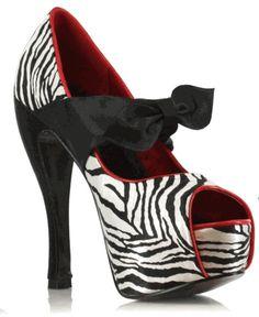 Heel Peep-Toe Mary-Jane in Zebra with Black Satin Design works No.2149  Black Heels 