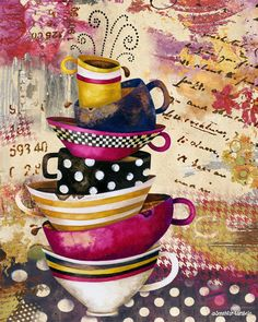 Coffee Cups Divine 2 art print. Available as an 8x10 and 11x14 in the Studio Petite shop. Artwork by Jennifer Lambein. #coffee #art #collage