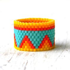 Wide colorful ring Ethnic ring boho ring Hippie by HappyBeadwork