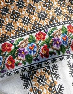 Hungarian Embroidery Stitch Ukraine, from Iryna with love Hungarian Embroidery, Folk Embroidery, Learn Embroidery, Floral Embroidery, Chain Stitch Embroidery, Embroidery Stitches, Embroidery Patterns, Stitch Head, Embroidery Techniques