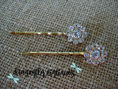 Hair Pins, Rhinestones, Gold Tone, Wedding, Bridesmaids {104}