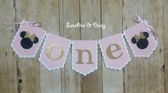 Pink and Gold Minnie Mouse Banner Happy Birthday Custom Mickey Font club house Mickey Mouse 1st Birthday, Minnie Mouse, Happy Birthday, Mickey Font, Pink And Gold, Card Stock, Banner, Christmas Ornaments, Holiday Decor