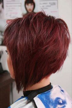 Choppy cut with deep red hair is perfect for the upcoming Fall!