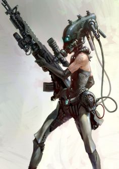 future, cyberpunk, cyborg, weapon, cyber girl, futuristic, girl warrior, sci-fi, future warrior, cyber helmet, science fiction