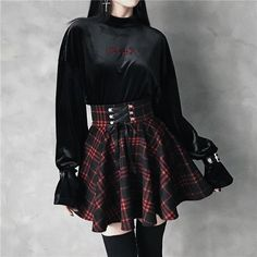 e5883d9fc63  PRE-ORDER  Gothic Harajuku Red Black Lace Up Plaid Skirt Cheap Girls  Clothes