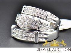 10K White Gold Diamond Trio Set Matching Engagement Ring Wedding Band 2.30 Ct #2jewelauction #WeddingTrioSetBridalEnagegementRing