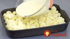 Výborný recept na karfiol, ktorý milujú aj najväčší mäsožravci. Stačí ho len dať do misy a zaliať jednoducho smotanou zmesou. Žiadne vyprážanie, žiadne obaľovanie a chuť fantastická. Potrebujeme: Karfiol – 1 ks. (stredne veľký) Kyslá smotana – 2 lyžice Majonéza – 2 lyžice Horčica – 1 lyžička Syry – 100 g Vajcia – 2 ks... Macaroni And Cheese, Grains, Food And Drink, Rice, Ethnic Recipes, Basket, Mac And Cheese, Seeds, Laughter