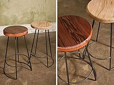 These stools offer sturdy natural steel bases that are locally sourced with a variety of reclaimed wood seat options.     Pictured are reclaimed white oak seats cut from massive barn timbers as well as richly toned redwood seats salvaged from Vinegar tanks in Southern Wisconsin.  (Call for availability.)     28″H with 14″ Diameter seat