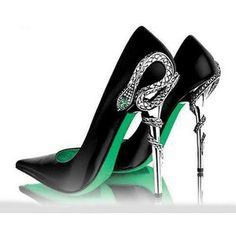 Harry Potter Prom: Hogwarts House Shoes -- Slytherin. Hard to pick which one is the best: http://www.davonnajuroe.com/harry-potter-prom-round-two-hogwarts-house-shoes/