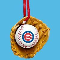 Club Pack of 24 Chicago Cubs  MLB Baseball in Glove Ornaments