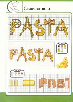 Schema punto croce Pasta 01 Minnie Baby, Cross Stitch Boards, Cross Stitch Kitchen, Le Point, Hand Embroidery, Needlework, Projects To Try, Crochet Patterns, Bullet Journal