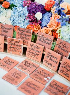 drink coaster table escort cards/favors! #wedding photography by / http://ktmerry.com,Event   Floral Design By / http://karlaevents.com/