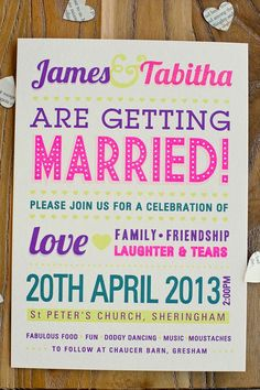 A wonderful DIY wedding bursting with colour from Tabitha and James Quirky Wedding Invitations, Wedding Invitation Wording, Wedding Stationery, Invitation Ideas, Invites, Summer Wedding, Diy Wedding, Wedding Ideas, Wedding Stuff