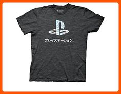 Ripple Junction Playstation Logo Foil Adult T-Shirt 2XL Heather Charcoal - Cool and funny shirts (*Amazon Partner-Link)