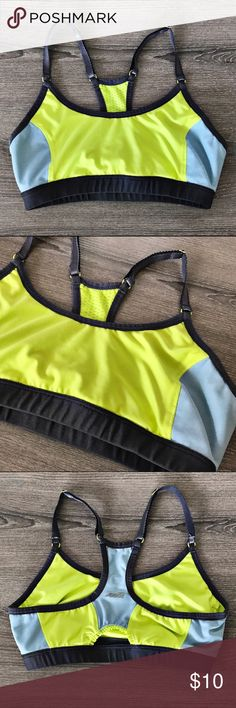 Green/Blue Sports Bra Excellent used Condition. For reference: I wear a 34/36 B and require little support.  Check out the rest of my listings (tons of items) to bundle! 2 or more receives a 10% discount. Make it worth the shipping  Avia Intimates & Sleepwear Bras
