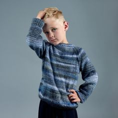 Knit a sweater for a lovely child in your life. The sweater will have a nice striped look because of the yarn's color shifts. A single skein of Winter Glow will allow you to make up to a size 12 years - it doesn't get any easier :) Enjoy! Sweater Patterns, Knitting Patterns Free, Free Knitting, Free Pattern, Crochet Patterns, Circular Needles, Knit Or Crochet, Mittens, Size 12