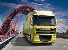 Yellow DAF Truck On The Bridge
