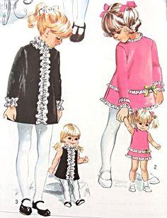 1960 das meninas vestido e correspondência boneca Vestidos Pattern Simplicidade 8568 Vintage Pattern Costura Diversos Estilos adoráveis meninas da criança vestido de tamanho 4 FÁBRICA SEM CORTES DOBRADO