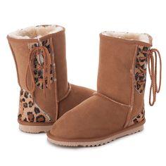 Chestnut Leopard Safari Short Lace Up UGG Boots #leopard #laces #short #ugg #boots #uggboots #aussie #australian #australia #sheepskin