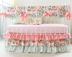 7a00eb00a Baby Girl Crib Bedding Set,3- 4 PC Floral Crib Set with Ruffle Crib Skirt,  Blush & Sage Nursery