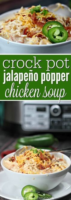Try this easy crock pot jalapeño poppers chicken soup recipe. This delicious crock pot jalapeño poppers chicken chili is perfect for cold days.