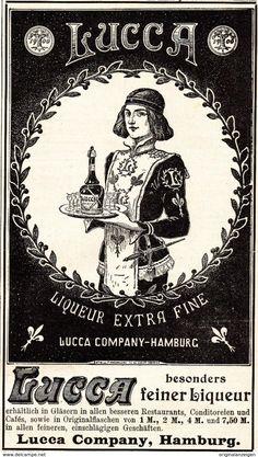 Werbung - Original-Werbung/ Anzeige 1901 - LUCCA LIQUEUR - HAMBURG - ca. 90 x 155 mm