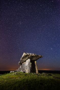 Poulnabrone dolmen portal tomb in the Burren, County Clare, Ireland.  Just magnificent!!  The depth of space is beyound our comprehension