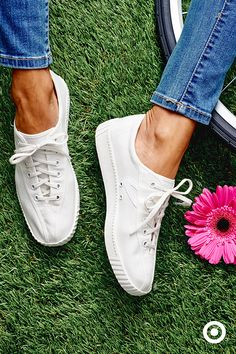 These white Tretorns are the go-to for all things spring—a perfect pairing for jeans, dresses, shorts or bike rides in the park.