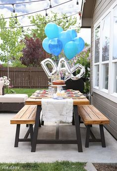 'We're prepping for Father's Day tomorrow and came across this simple but eye-catching BBQ setup! What are you doing for Dad? Birthday Breakfast For Husband, Father's Day Breakfast, Birthday Brunch, Dad Birthday, Girlfriend Birthday, Birthday Gifts, Fathers Day Ideas For Husband, Fathers Day Brunch, Happy Fathers Day