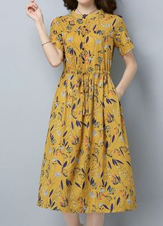 Women loose fit over plus size retro flower dress pocket tunic floral skirt chic #Unbranded #dress #Casual