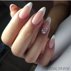 A misconception that beautiful manicure can only be on long nails. We have collected a selection of design ideas for a spectacular manicure. Frensh Nails, French Manicure Nails, French Tip Nails, Manicure E Pedicure, Almond Nails French, French Stiletto Nails, White Almond Nails, Almond Nail Art, French Polish