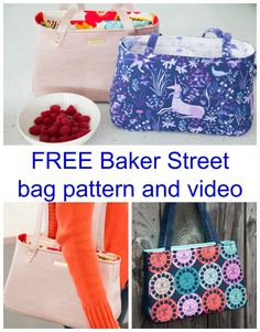 FREE pattern and video for the Sew Sweetness Baker Street bag. The Baker Street Bag only features one pattern piece. The rest are rectangular cuts so there is only one page of templates to print and no taping together.