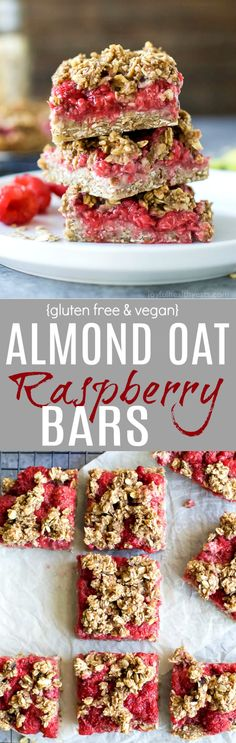 Fresh Almond Oat Raspberry Bars with a delicious crumble topping! These Raspberry Bars are sweet, tart, totally satisfying and guilt free at 129 calories a bar! {gluten free, dairy free, and vegan}
