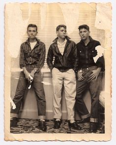 My grandfather passed away a few years ago and I found this damaged pic of him as a badass teenager (middle). Are there any photoshop wizards that can help me out? - Imgur