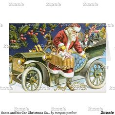 Santa and his Car Christmas Card