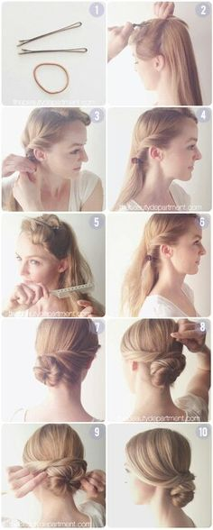 elegant low bun I love hairstyles like this, fast, easy, simple, and elegant !