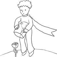 Desenho de Pequeno Príncipe e a rosa para colorir
