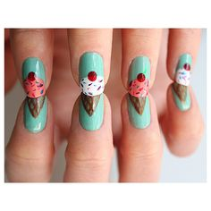 8 Ice Cream Nail Designs For The Coolest Summer Ever ❤ liked on Polyvore featuring nails, nail art, beauty, makeup and nail polish