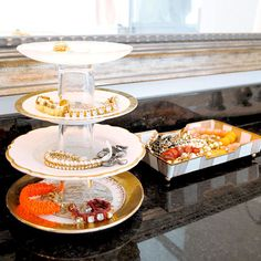 Saucer and Shot Glass Tiered Tray | 30 Clever Ways to Keep Your Jewelry Organized