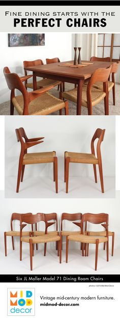 61a90b02f40c Six JL Moller Model 71 Dining Room Chairs This set of Moller chairs has the  two