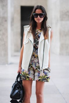 Floral Romper + White Leather Vest